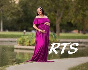 Ready to Ship Maternity Dress for Photo Shoot-Maternity Gown-Long Maternity Dress Photography-Baby Shower Dress-ANASTASIA Dress-RTS