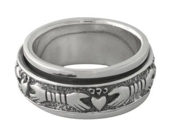 Claddagh Celtic Spinner Sterling Silver Ring size 5