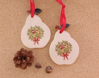 Pear ceramic hanging ornament - Pottery gift tag -  Pear with Partridge in pear tree decal (Listing for ONE only)