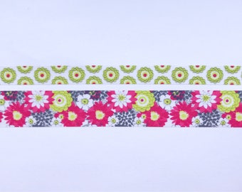 "Modern Floral Washi Tape 24"" Sample Set - Skinny (10mm) and Wide (20mm)  - Bobbins"