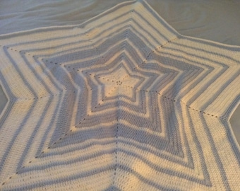 "Crocheted Star-Shaped Baby Blanket, BLUE or PINK with White, 42 ""/  42 """