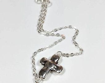 Sideways Rustic Cross Bracelet Women Silver Wirewrapped