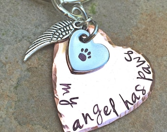 Memorial Pet, My Angel Has Paws, Pet Memorial, Furever in my heart Keychain, miss my pet, sympathy pet gift, Natashaaloha