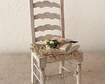 Dollhouse Miniature, Romantic chair in 1:12 scale