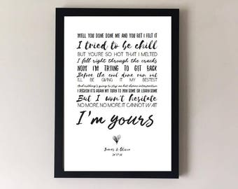 I'm yours, song lyrics print, wedding song, first dance, anniversary gifts, wedding gift gift for husband gift for wife