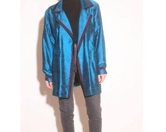 Vintage 1980s Bonnie Durant Electric Blue Metallic Oversized Tuxedo Jacket size M