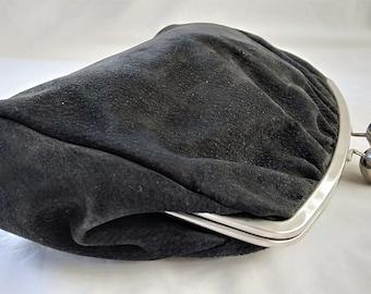 Vintage Large Black Suede Leather & Silver Tone Clutch Bag