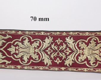 to order! 10 m wide embroidered stripe jacquard width 70 mm