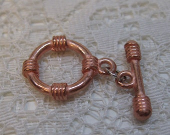 Bright Copper Lead Free Pewter Rope Design Toggle Clasps 15mm 10 sets BIN5.12