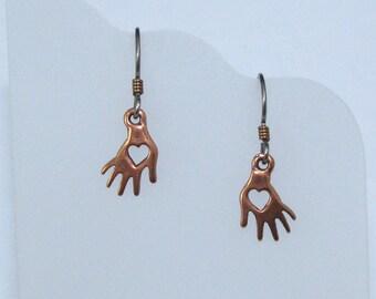 Copper Heart in Hand Earrings on Hypoallergenic Ear Wires, Heart in Hand Charms, Petite Earrings, Hand Jewelry, Heart Jewelry, Gift for Her
