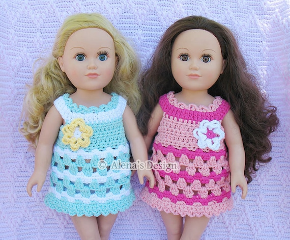 Crochet Pattern 132 - Crochet Dress Pattern for 18 in Doll - Crochet Patterns - Doll Lace Tunic for American Doll 18 in Dolls Outfit