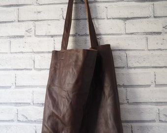 REAL DARK burgundy unlined leather tote bag with raw edge finished straps