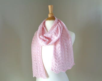 Pale Pink Cashmere Scarf, Hand Knit Lace Scarf, Lacy Wrap Scarf, Luxury Natural Fiber, Pure Cashmere, Super Soft