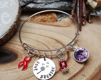 RE-1 AIDS HIV Awareness Bracelet Alcohol Abuse Survivor Jewelry Just Breathe Birthstone Charm Recovery Jewelry Gift For Her