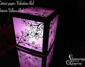 Cherry Blossom Laser Cut Paper Lantern Luminary Centerpiece
