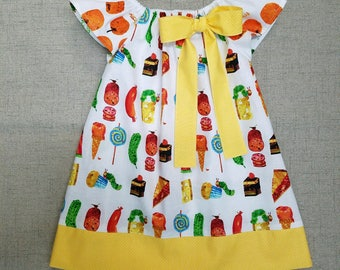 The Very Hungry Caterpillar Dress, Birthday Dress, Flutter Sleeve Dress, Eric Carle Dress, Handmade Girls Dress, Food Dress