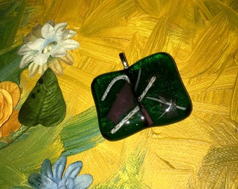 Emerald Green Dichroic Glass Pendant