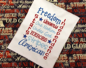 4th of July Freedom Embroidered Applique - Fireworks American Patriotic White Shirt 100% Cotton - Made to Order
