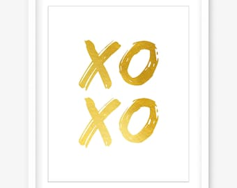 Xoxo print - printable love print - printable gold wall decor - modern wall art - gold print - valentines gift - romantic - DIGITAL DOWNLOAD