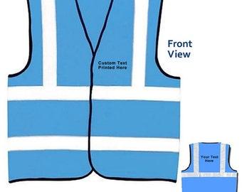 Printed Sky Blue Safety Vest Hi Vis Adult Viz High Visibility Reflective Waistcoat Sports S M L XL 2XL 3XL