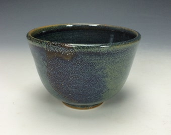 Blue-Green Lavender Purple and Brown Ceramic Bowl, Unique Drips Clay, Soup Cereal Pasta Salad Tea Bowl, Modern Home Decor, Chawan