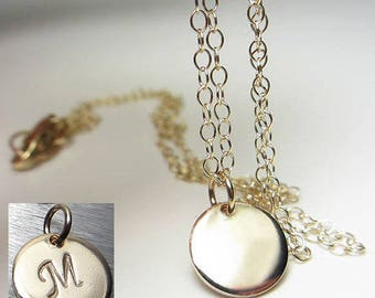 14kt Gold Filled Sterling Silver Disc Layering Necklace Round Dot Pendant Delicate Jewelry Circle Necklace Coin Necklace Initial Necklace