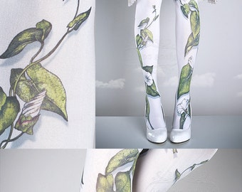 Tattoo Tights -  Climber Plant white one size full length closed toe pantyhose tattoo socks ,printed tights