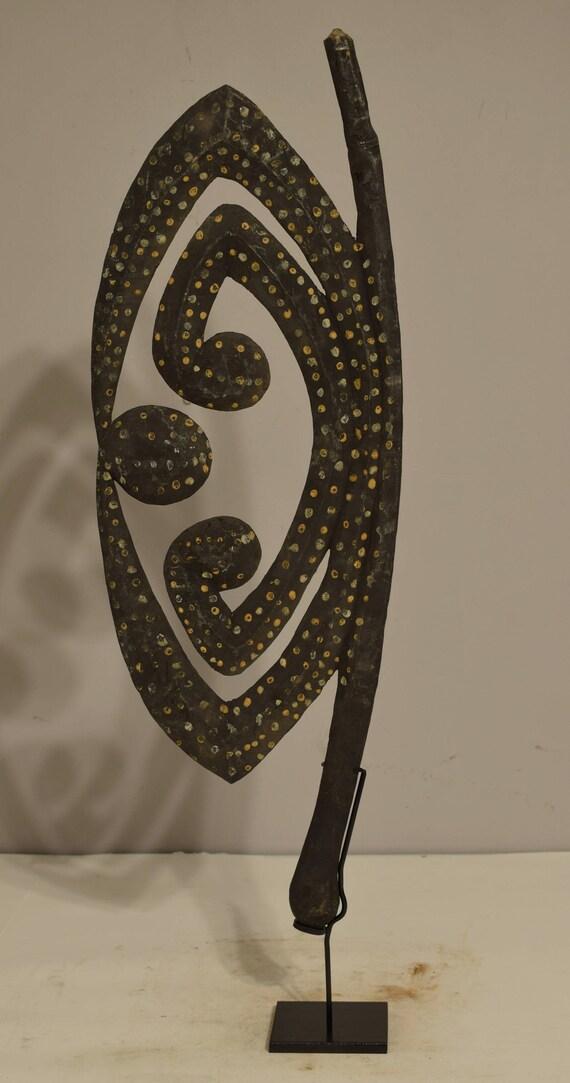 "Papua New Guinea Figure Water Spirit Cult Hook Initation Wood Spirit Figure 30"""