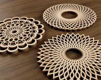 Hardwood Graphic Coasters -The Spiral Series