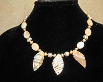 Mermaid's Garden - Mother of Pearl  and Creamy Genuine Pearl Necklace.