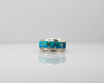 Signed HJ Inlaid Turquoise Sterling Silver Ring Band Stackable Gift for Mom