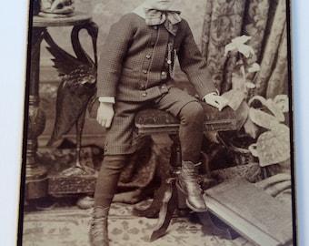 Antique Photo of a Little Boy Antique Cabinet Card Photograph 6-1/2 x 4-1/4 Circa 1880s