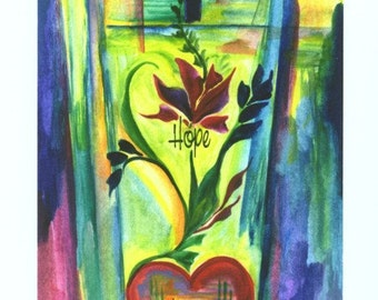 FAITH HOPE LOVE Giclee Inspirational Bible Scripture Home Decor Cross Heart Religious Christian Family Heartful Art by Raphaella Vaisseau