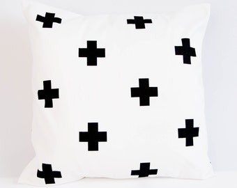 Black crosses pillow cover, modern monochrome nursery decor, black and white cushion cover, cross throw pillow, monochrome decor, geometric