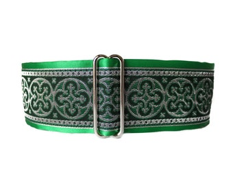 Green Martingale Collar, 2 Inch Martingale Collar, Jacquard Martingale Dog Collar, Green Dog Collar, Greyhound Collar, Whippet Collar