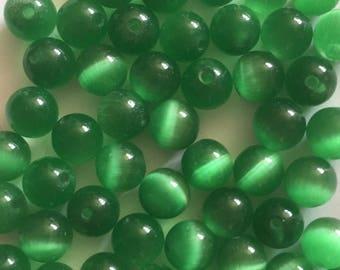 33 x 6mm green cats eye beads
