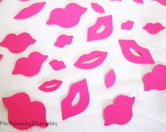Lips Confetti Party Decor Wedding Engagement Die Cut Kiss Shower Confetti Card Accent Table Scatter, Color Options