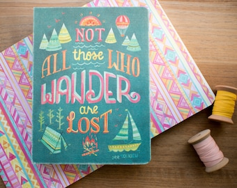 Not All Those Who Wander Are Lost Blank Lined Journal, Pocket Writing Journal, Adventurous Gifts For Her, Aztec Geometric Pattern Notebook