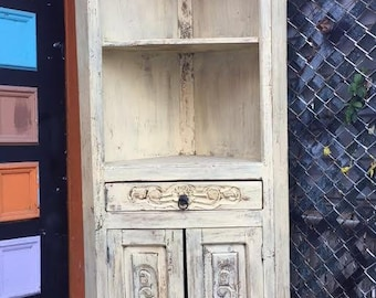 Shabby Chic Tall beige  Washed wood Cabinet/shelf