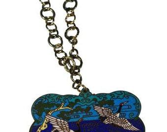 Vintage Cloisonné Pendant Necklace Birds Heron Wildlife Enamel