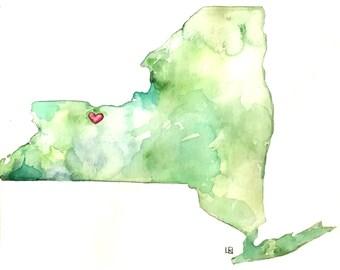 Custom state watercolor | Hometown watercolor | United states watercolor