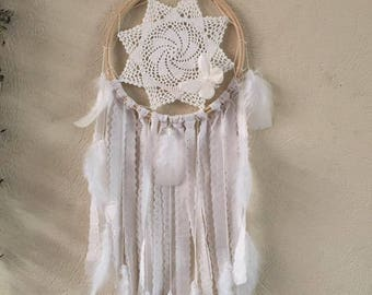 "Dream catcher white dreams, dreamcatcher ""broderie anglaise"""