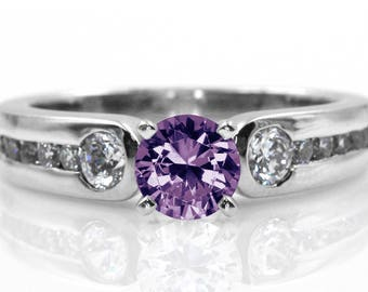 Amethyst Engagement Ring in 14kt White Gold and Natural Diamonds 1.60 Carat Total Weight  | 2364
