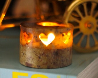 Little Round Soapstone Heart Candle Holder