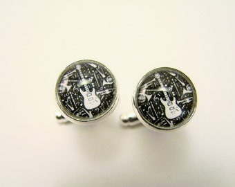 ELECTRIC GUITAR Silver Cuff Links -- Music cuff links, Rock and Roll, Gift for musicians, singers, dancers, music lovers, Wedding cuff links