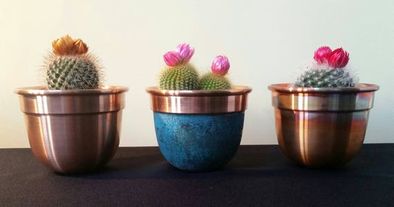 Set Of 3 Handmade Solid Copper Plant Pots / Planters