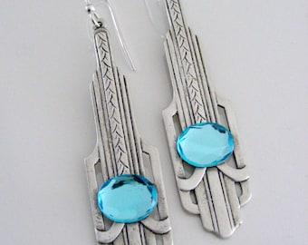 Art Deco Earrings - Silver Earrings - Aquamarine Earrings - Handmade Jewelry