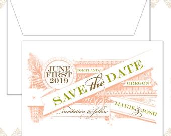 Vintage Wedding Save the Date, Vintage wedding, Vintage design, Calligraphy, Cursive font, Traditional, Victorian, Vintage decor, Banner
