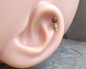 Cherry Rosewood Wood Cartilage Earring Tragus Helix Piercing