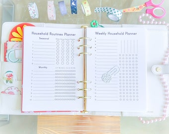 Cleaning Checklist A5 Planner Binder, Filofax A5, A5 Printable, Household Binder, Monthly Cleaning, Monthly Routines Tracker, Daily Routines